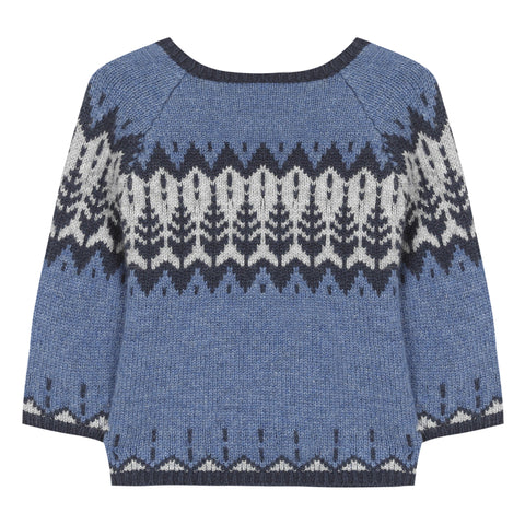 Cobalt jacquard jumper with winter pattern