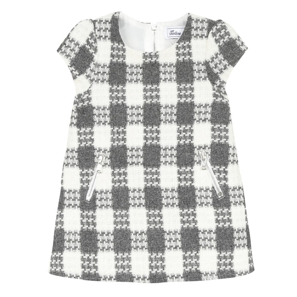 *NEW* Pearly woollen dress with large checked pattern