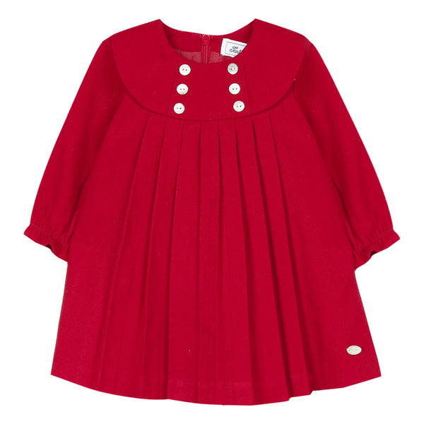 Red long-sleeved pleated flannel dress