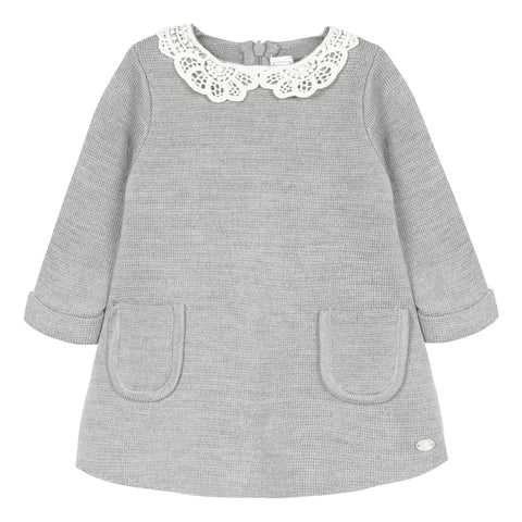 Mid grey marl knitted dress with Peter Pan collar