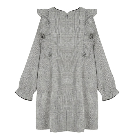*NEW* Mid grey marl Prince of Wales check dress