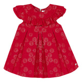 Red jacquard dress with gold flowers