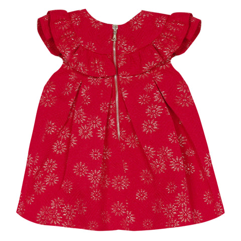 *NEW* Red jacquard dress with gold flowers