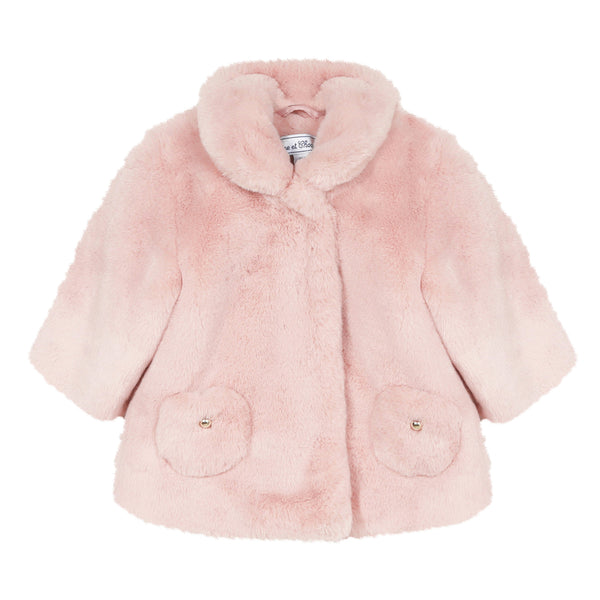 Mid pink faux fur coat