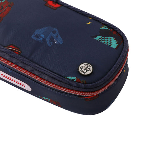 Navy pencil case with dino print