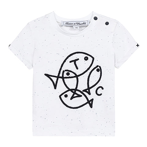 * NEW *  Marl grey T-shirt with fish graphic