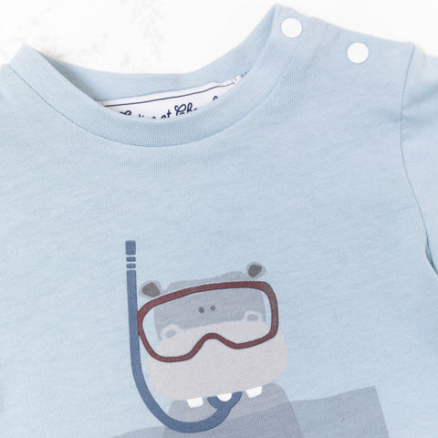* NEW *  Blue grey T-shirt with hippo snorkling