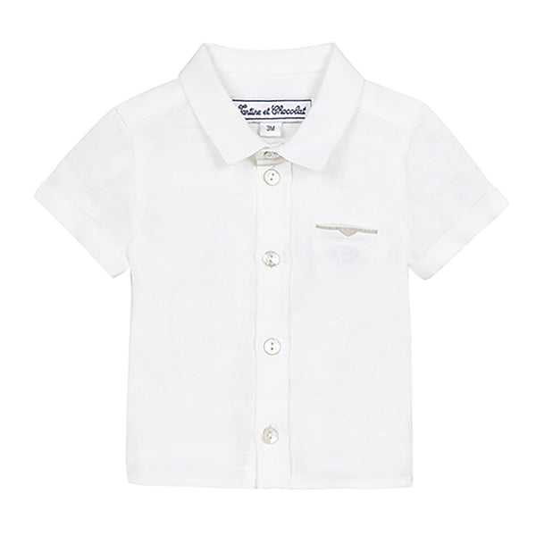* NEW *  White linen short sleeve shirt