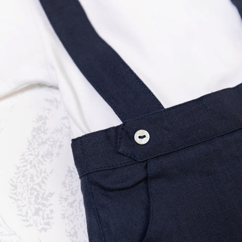 * NEW *  Navy linen pants with suspenders
