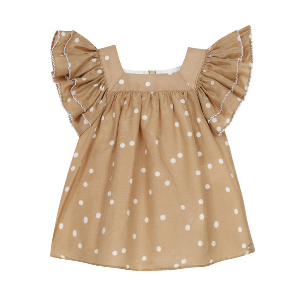 Camel polka dots dress