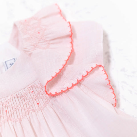 * NEW *  Light pink with smock and rufle details