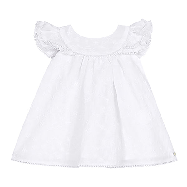 * NEW *  White embroidered dress with pompom trim