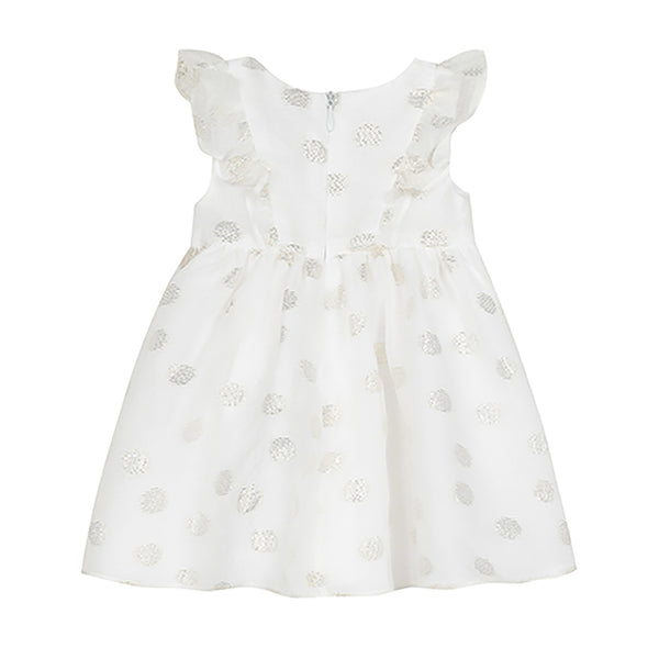 * NEW *  White pinafore dress with gold polka dots
