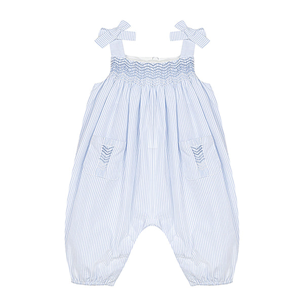 * NEW *  Light blue striped romper with smock detail