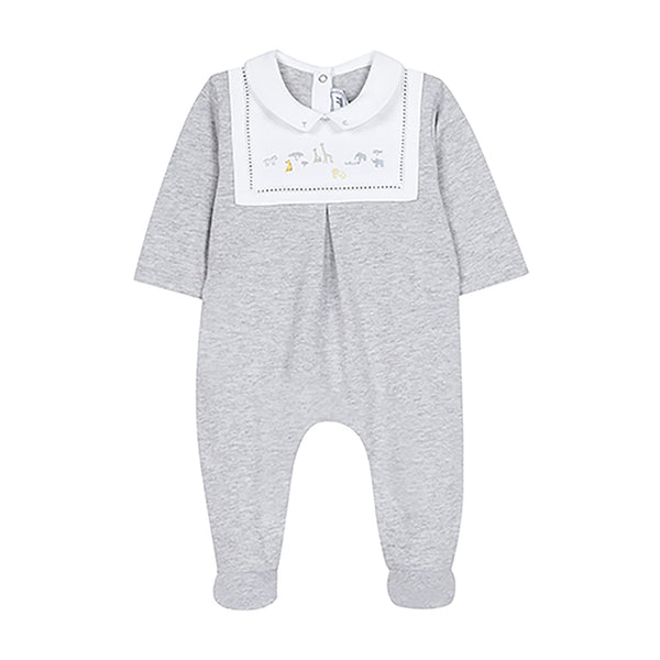 * NEW *  Grey footie pajamas with safari embroideries