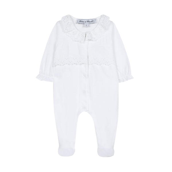 White cotton footie pajama