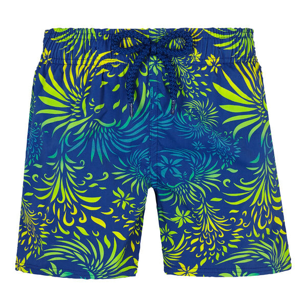Blue swimshorts with Hawaïan print
