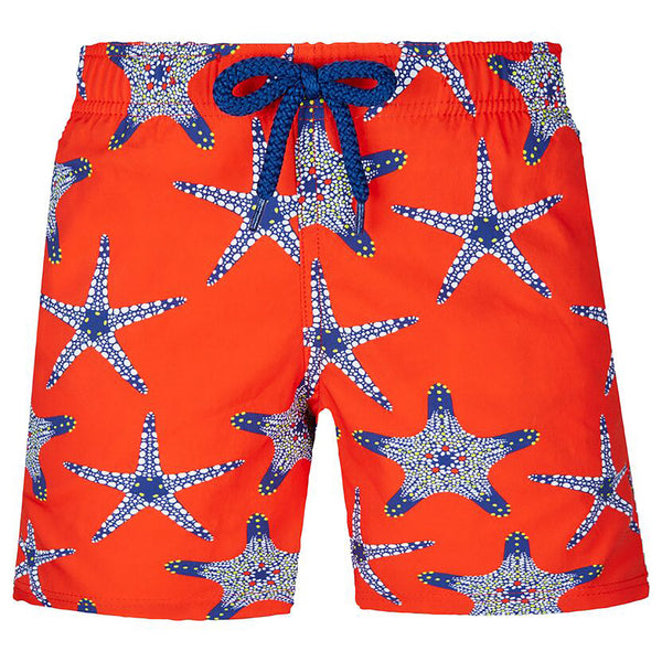 Red swimshorts with starfish visual