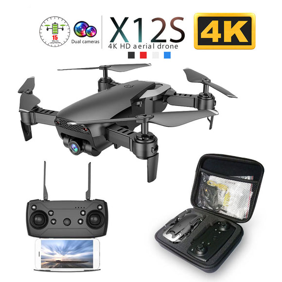 X12 X12S WiFi FPV RC Drone with 0.3MP/1080P/4K HD Dual Camera Optical Flow RC Quadcopter for Toys Kid Dron vs SG106 Visuo xs816