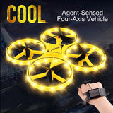 Mini Quadcopter Induction Drone Smart Watch Remote Sensing Gesture RC Aircraft UFO Somatosensory Noctilucent Interaction RC Toys