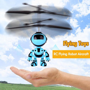 RC Hand Inductive Flying Robot Kid's Flying Ball Mini LED Drone Helicopter Aircraft Hand Infrared Induction Kids Light up Toys