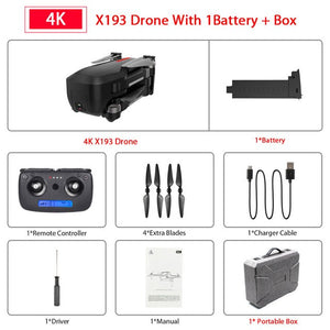 X193 Brushless GPS Drone 5G Wifi FPV RC Helicopter with 4K HD Camera Gesture Control Foldable RC Quadcopter VS F11 SG906 Dron