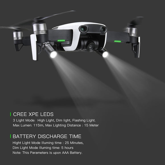 2pcs Drone Night Flight LED Light photography Fill light Flashlight 360 degrees rotation For DJI mavic air Drone Accessories