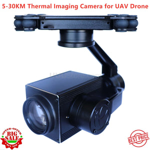 5-30KM long-distance 18X Dual Sensor of Zoom UAV Thermal Imaging Camera with 3 Axis Gimbal for UAV Drone Aerial Cinematography