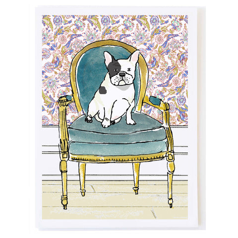 French Bulldog on Velvet Chair