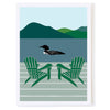 Loon Swimming by Dock