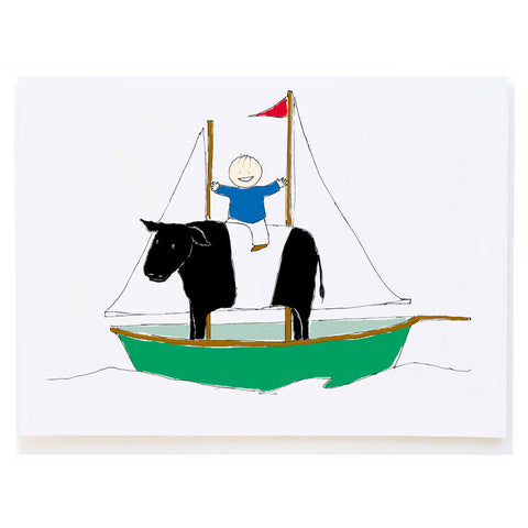 Riding Cow on Boat