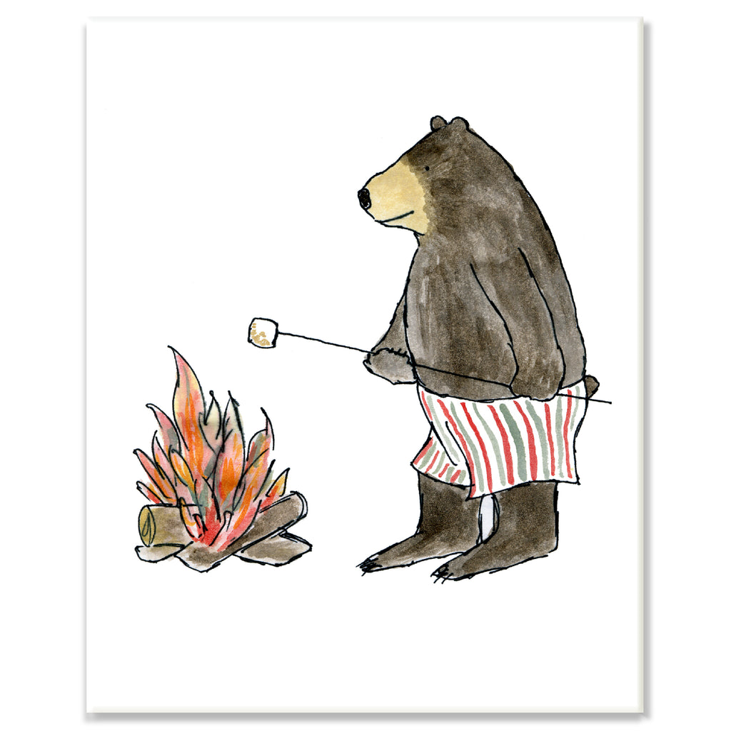 Bear Roasing Marshmallow Print