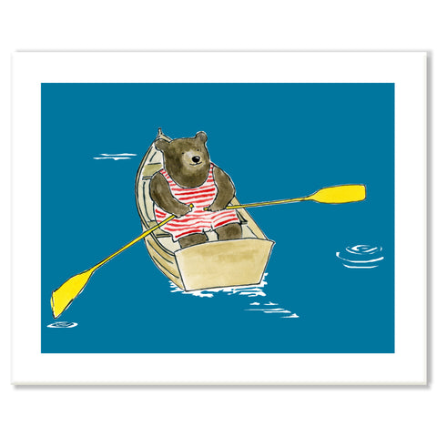 Bear in Rowboat Print