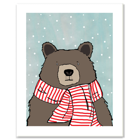 Bear in Striped Scarf Print