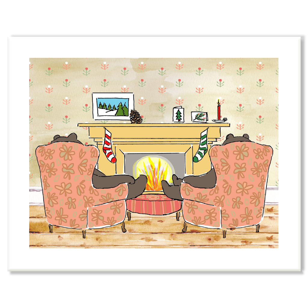 Bears by Fireplace Print