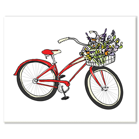Bicycle with Flowers Print