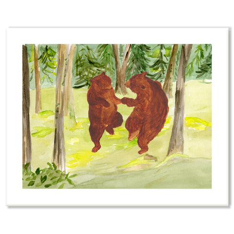 Dancing Bears in Forest Print