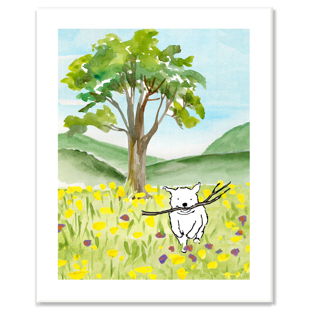 Dog in Meadow Print