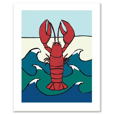 Lobster in Waves Print