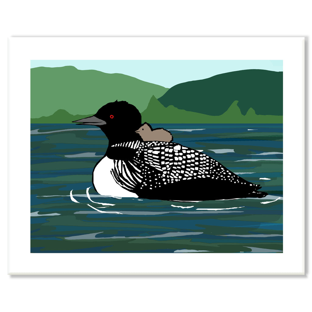 Loon and Baby Print