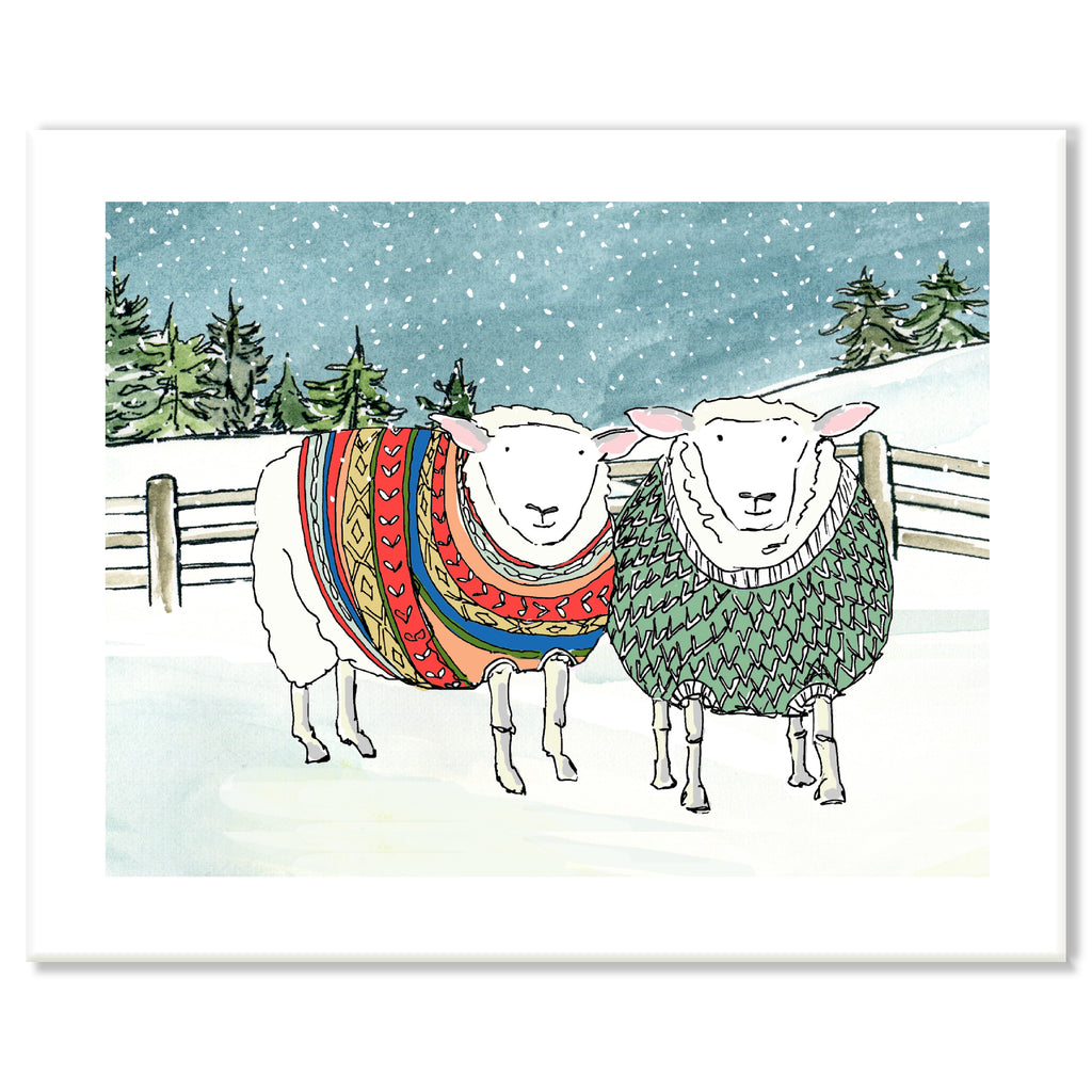 Sheep in Sweaters Print