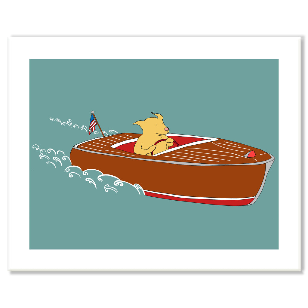 Speedboat Dog Print