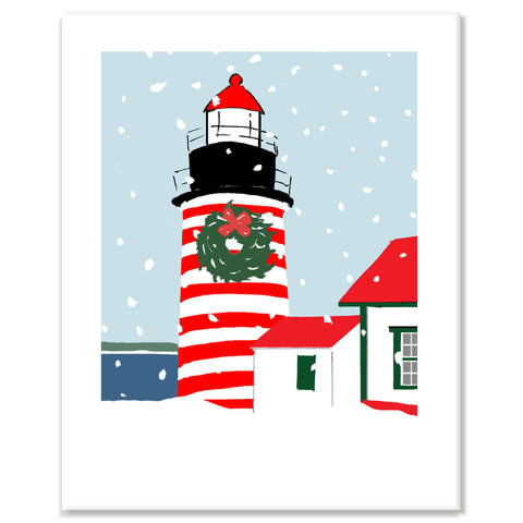 West Quoddy Light in Snow Print