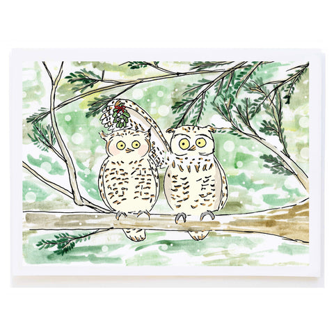 Owls with Mistletoe