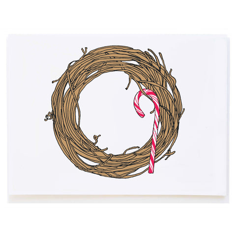 Twig Wreath with Candy Cane (small card)