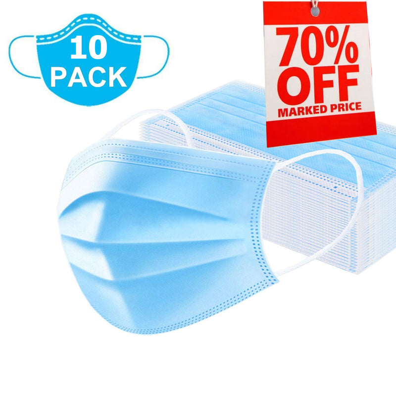 (10 Pcs) 3 Ply Non-Woven Disposable Face Mask with Nose Pin