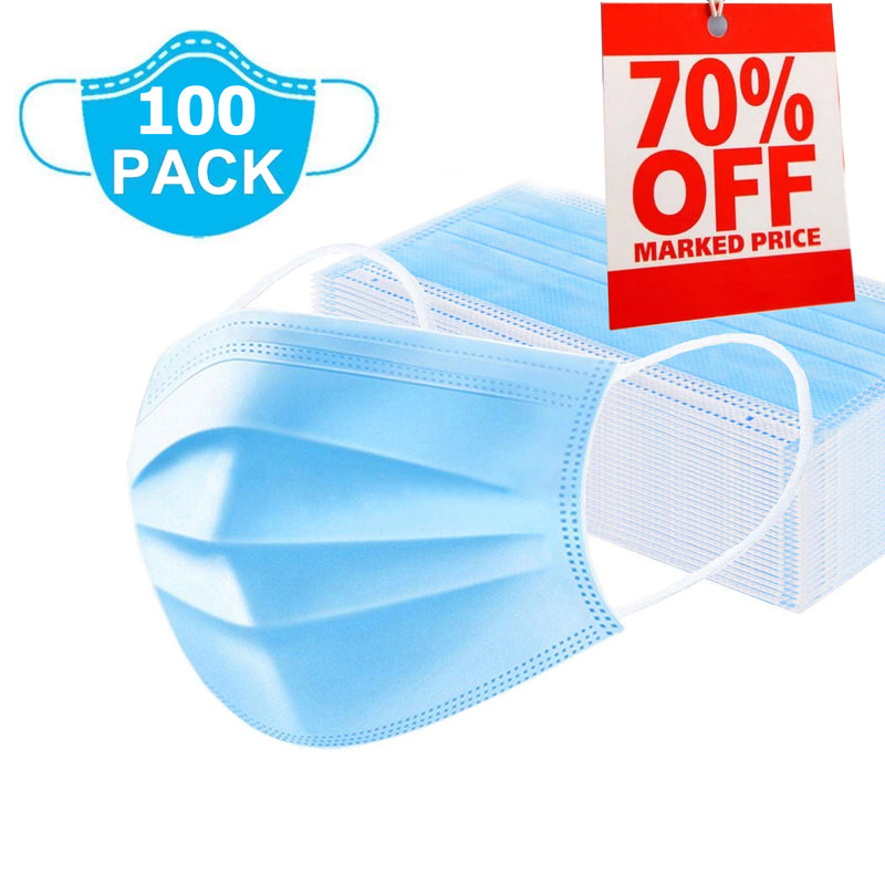 (100 Pcs) 3 Ply Non-Woven Disposable Face Mask with Nose Pin