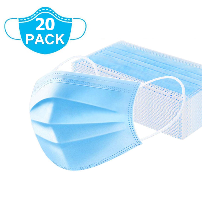 (20 PCS) 3 Ply Non-Woven Disposable Face Mask with Nose Pin