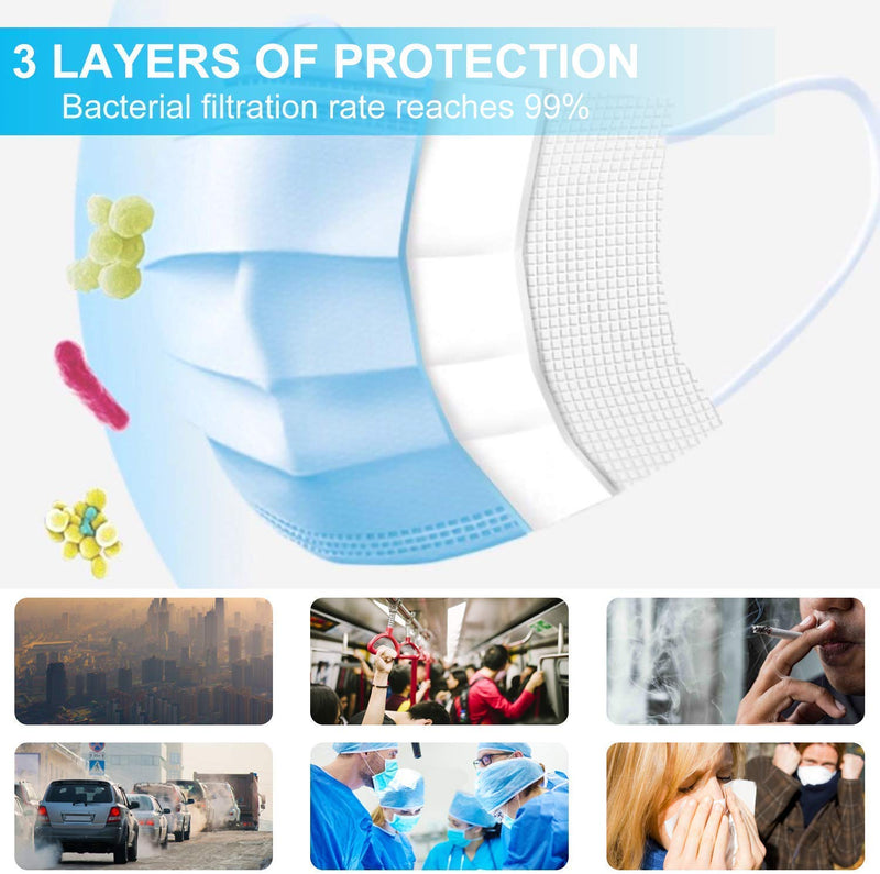 (500 Pcs) 3 Ply Non-Woven Disposable Face Mask with Nose Pin