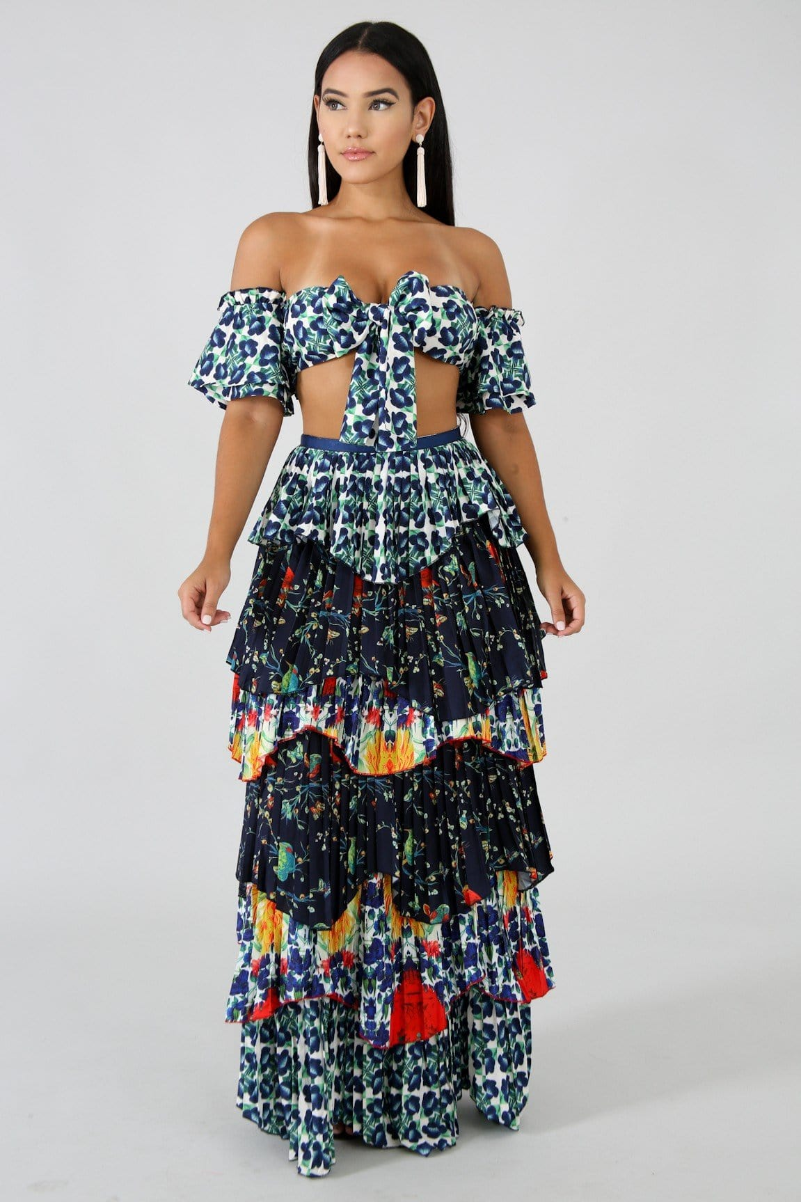 Pleated Canario Maxi Skirt Set